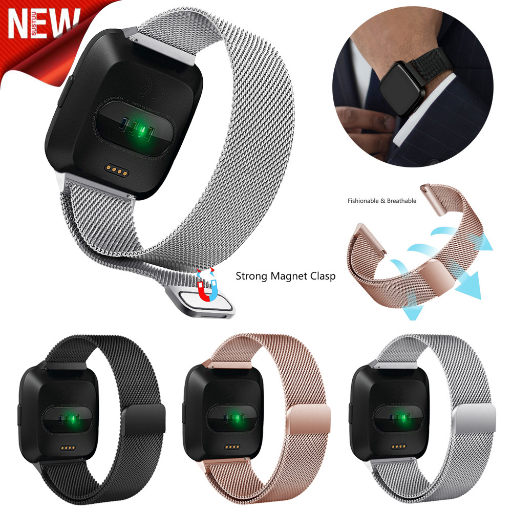 Fashion Stainless Steel Band For Fitbit Versa Milanese Magnetic Loop Smart Watch Band Strap Replacement Wristband New l927#1