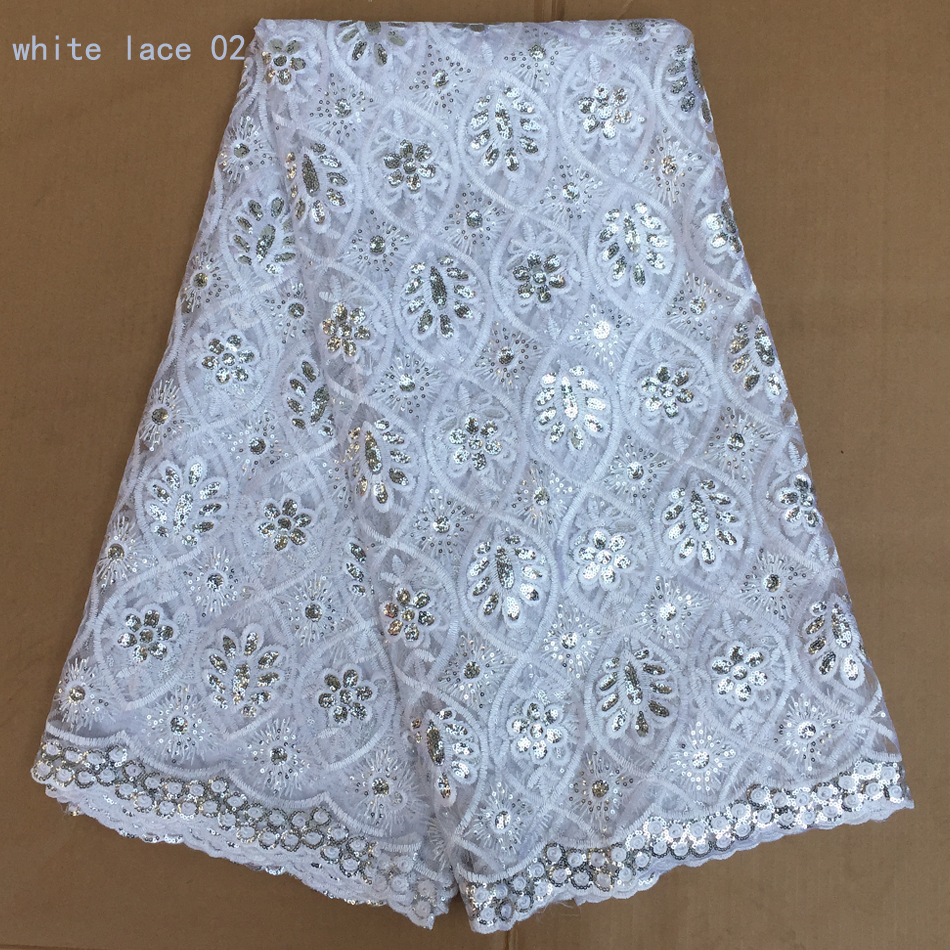 Fashionable nigerian lace fabric latest african lace for White lace fabric for wedding dresses