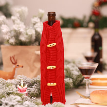 2019 Christmas Xmas Knit Horn Button Wine Bottle Protector Sleeve Decoration  Desk Travel Picnic Case Bag Festival Holiday Gift 3caff1b0639de