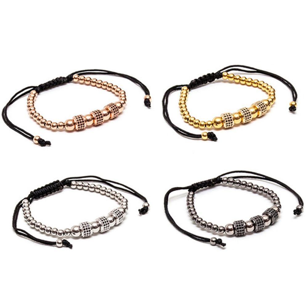 (10 pieces/lot) Brand Anil Arjandas Men Bracelets 5Pcs 8mm Pave Setting Black CZ Beads Braiding Macrame Bracelet For Men Women