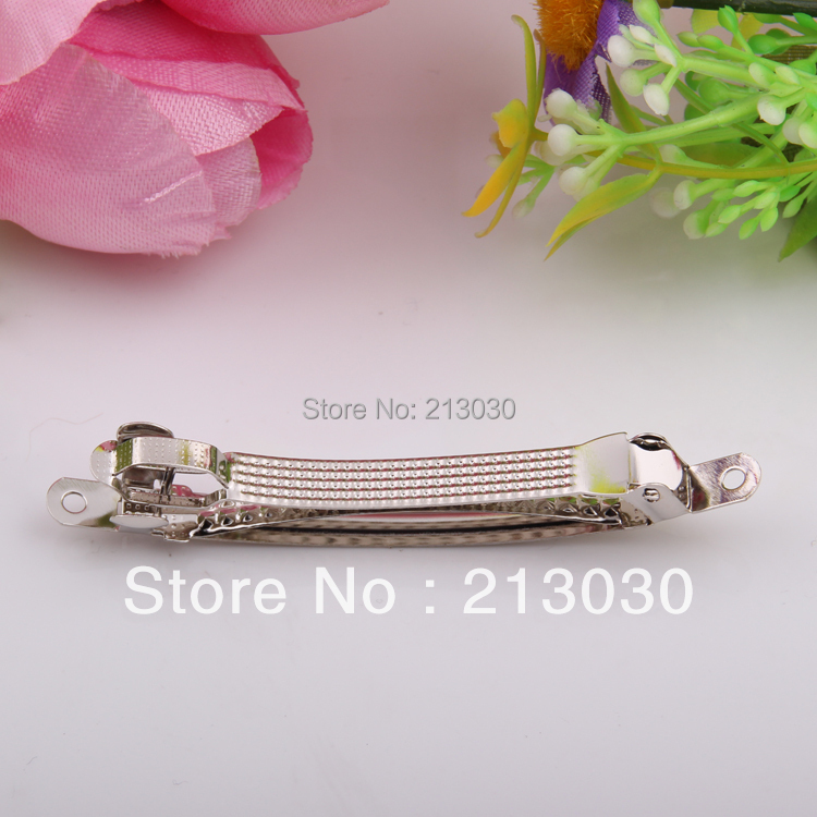 Wholesale DIY hairgrips clips 8CM three plates findings white stainless steal pinch cock Hair charms accessory in Women 39 s Hair Accessories from Apparel Accessories