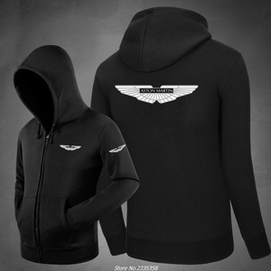 Winter autumn for male zipper Aston Martin Sweatshirts Fashion Cotton Hoodies solid colour coats Clothing casual jackets(China)