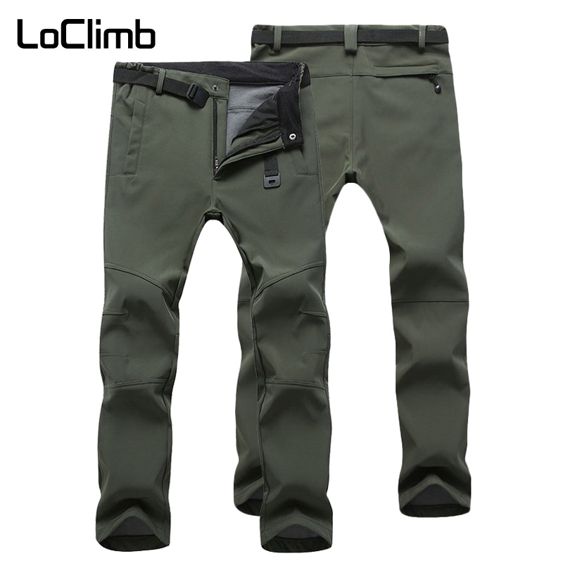 LoClimb Men's Winter Hiking Pants Men Ski/Camping/Mountain/Trekking Trousers Outdoor Softshell/Waterproof Pants For Man AM054