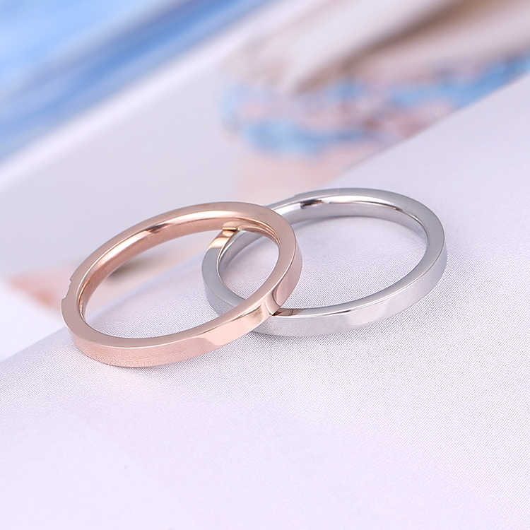 KNOCK คุณภาพสูงกระชับ Zircon วัสดุสแตนเลส Rose Gold สีเหล็กแหวนไม่เคย Fade เครื่องประดับ