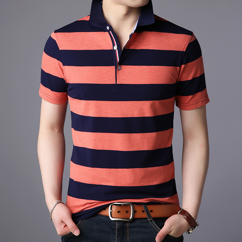 2019 New Fashion Brand   Polo   Shirt Men's Striped Summer Short Sleeve Slim Fit Cotton Top Grade Poloshirt Casual Men's Clothing