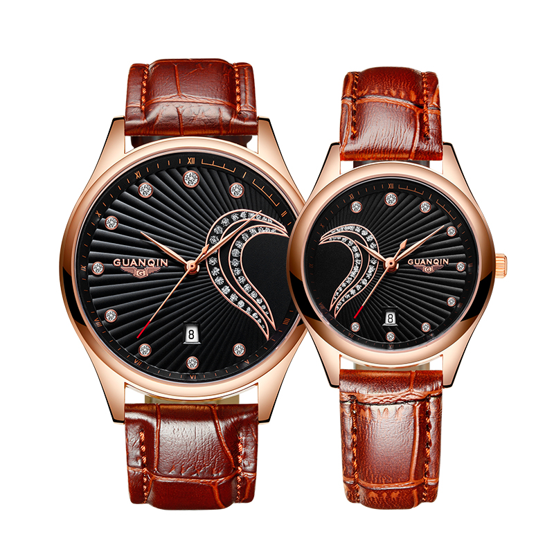 Luxury Brand Lover Watch Pair GUANQIN Waterproof Men Women Couples Lovers Watches Leather Casual Wristwatches Relogio Feminino 2017 new couple watches lovers guanqin brand quartz watch women round leather fashion casual men wristwatches female sport watch
