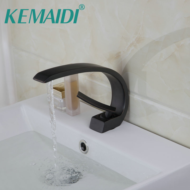 KEMAIDI Bathroom Sinks Faucet Oil Rubbed Bronze Deck Mounted Mixer Basin Tap Solid Brass Bathroom Sink Faucet 9910B oil rubbed bronze bathroom sink faucet double handles widespread 3pcs basin mixer tap deck mounted
