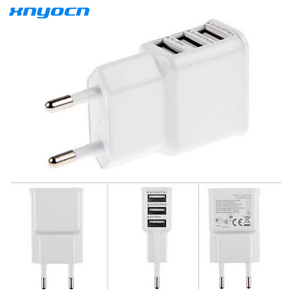 Mobile Phone Charger 3 USB Ports 5V 2.0A EU USA Plug Fast Charging Travel Wall Charge 3 Adapter for IOS Android Smartphone Tab