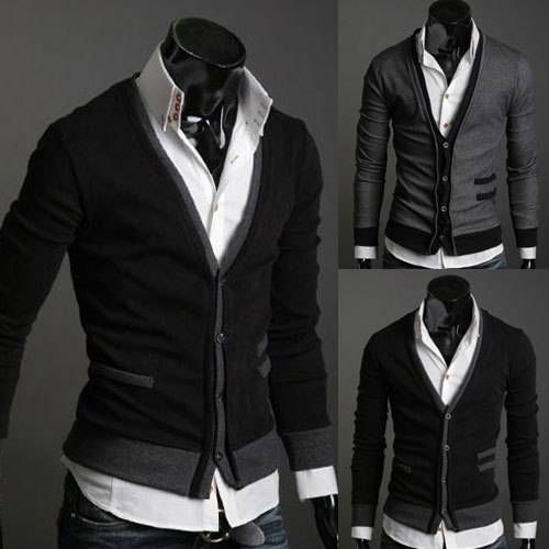 2014 New Spring Pocket Decor Thin Deep V-neck Cashmere Mens Sweaters Slim fit Outerwear Cardigan Casual Man Clothing M-XL