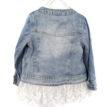 Spring Autumn Girls Fashion Jean Jackets Kids Lace Coat Long Sleeve Button Denim Jackets Outwear For Girls 2-7Y 1