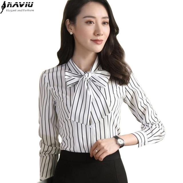 854412343878c 2017 Elegant clothes women stripes shirt spring long sleeve formal slim  chiffon blouses office ladies work wear plus size tops