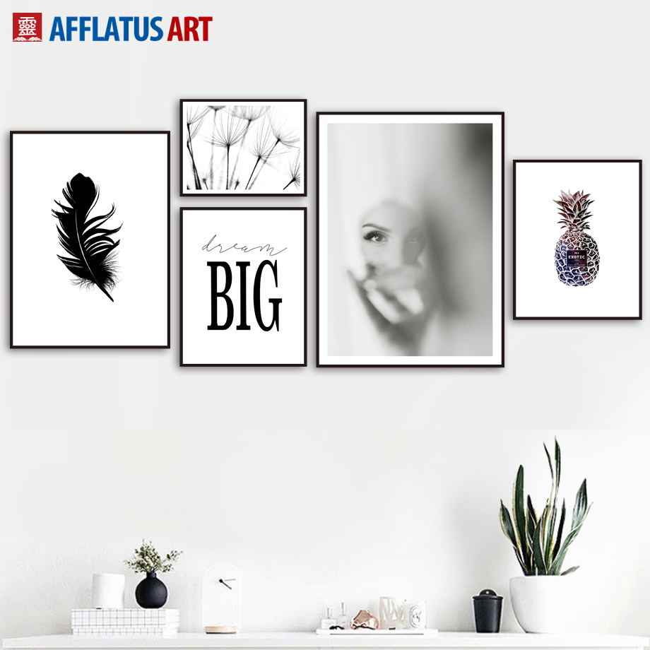 Abstract Girl Pineapple Landscape Nordic Posters And Prints Wall Art Canvas Painting Wall Pictures For Living Room Home Decor