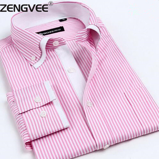 2017 Mens Dress Shirts Solid Striped Cotton Long Sleeves Double Collar Shirts with Top Quality 9-colors camisa social masculina