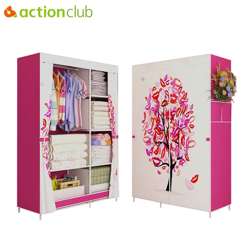 Actionclub Cloth Wardrobe Thick Reinforcement Pipe Folding Dustproof Wardrobe Multifunction Large Wardrobe Closet Furniture actionclub fabric oxford cloth wardrobe closet diy assembly multifunction large wardrobe folding portable cabinet home furniture