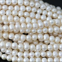 Romantic Natural White Freshwater Cultured Pearl Beads Charms Women Wholesale Retail High Grade Jewelry Making 15inch