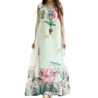 Spring Folk Style Old Retro Flower Dress Plus Size Loose Cotton Linen Long Robe