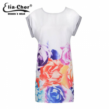 Summer dress Women Dresses Elia cher Brand Chic Tropical Floral Rose Print T-shirt Dress Plus Size Casual Female Clothing
