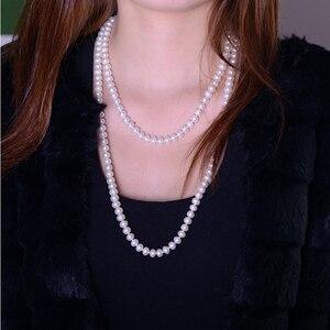 Image 4 - Женское Ожерелье из жемчуга ASHIQI, длинное ожерелье из натурального пресноводного жемчуга 90 см/120 см, 3 ряда цепочек на свитер, подарок на день матери 2019