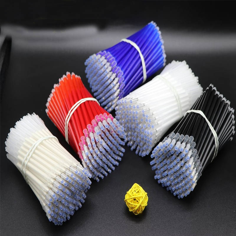 100pcs High Temperature Vanishing Refill Fabric+PU Cloth Factory Professional Ironing Heating Disappear Refill Office Stationery-in Gel Pens from Office & School Supplies
