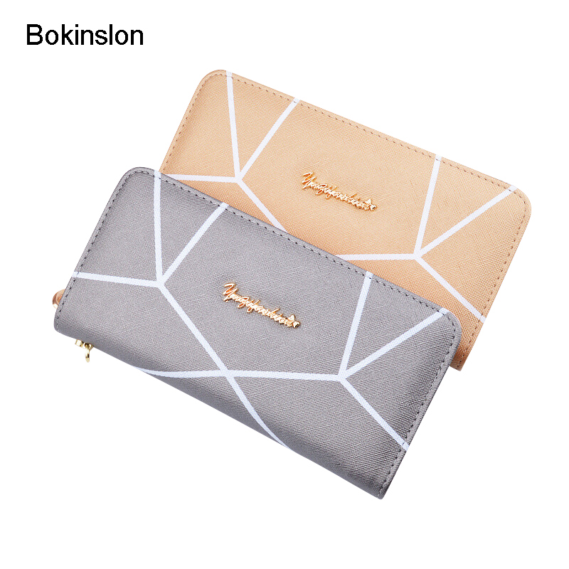 Bokinslon Hand Wallet Woman PU Leather Fashion Ladies Zipper Purse Large Capacity Geometric Pattern Female Long Section Wallet