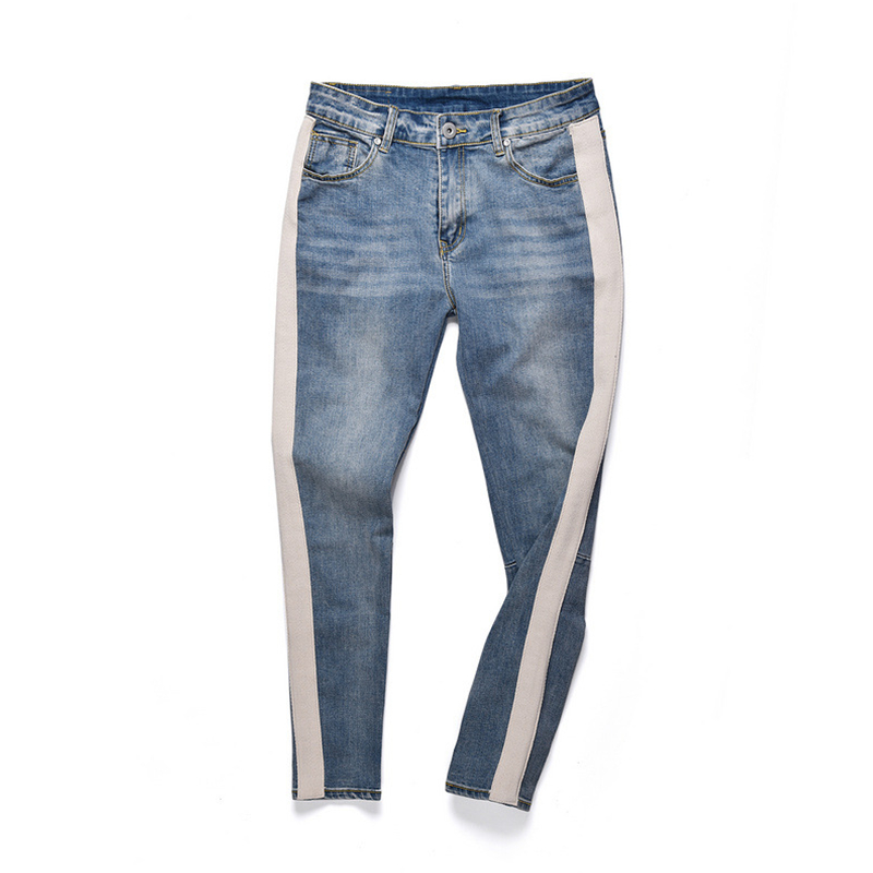 Men's Jeans Knaye West Fear of God Hip Hop Denim Jeans New Fashion Men Streetwear Slim Fit Jogger Full Length Retro Pencil Pants fashion mens hip hop ankle zipper biker denim pants justin bieber jeans fear of god version designer destroyed ripped jeans