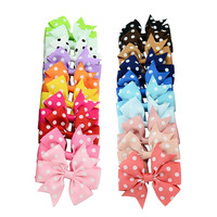 20pcs Lot DIY 3 Inch Grosgrain Ribbon Bows Baby Girls Hair Accessories With Clip Boutique Bows