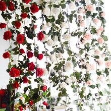3 вида цветов искусственные растения зелеными листьями моделирования тростника украшение цветы Гирлянда Главная стены партия для Аксессуары Роза лозы
