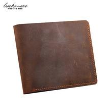 Crazy Horse Leather Men's Wallets With Card Holder Genuine Leather Designer Black Short Vintage Man Purses For Men Carteira 2016