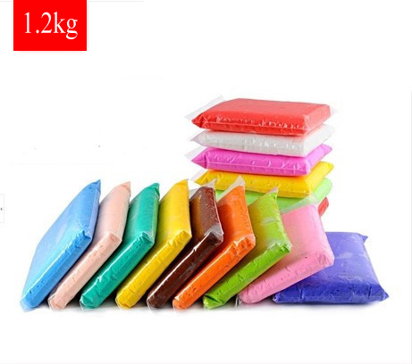 HOT 24pcs 1.2kg Colours Air Drying Super Light Plastic clay Colorful Silly Putty Plasticine Polymer Educational Soft Play Dough