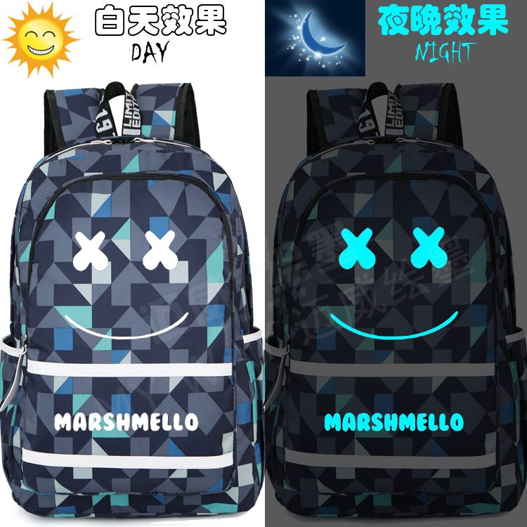 New Fashion Marshmello Backpack Canvas Printing Men Schoolbag Children Teenagers Boy Girl's Laptop Bags Shoulder Travel Bag