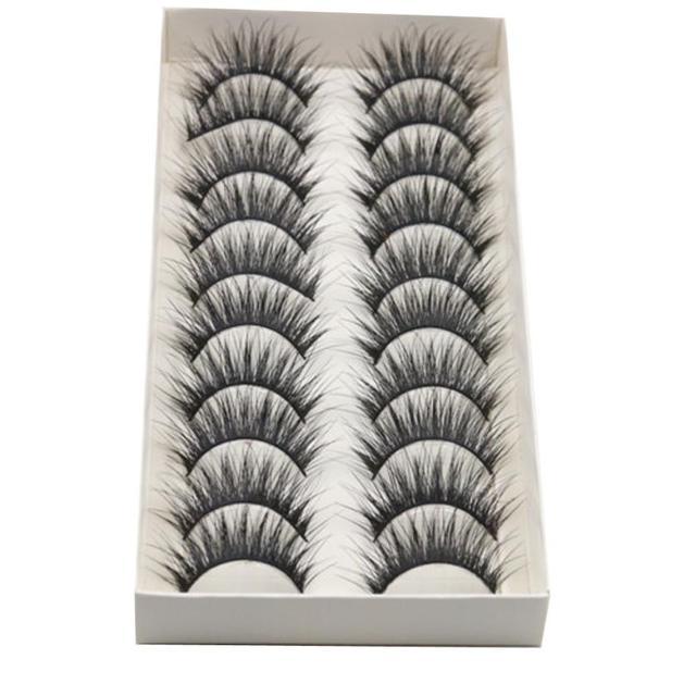 Nuevo Top de moda 10 pares de pestañas falsas de fiesta de Cruz larga gruesa banda negra pestañas de ojos falsos maquillaje natural hecho a mano Ana