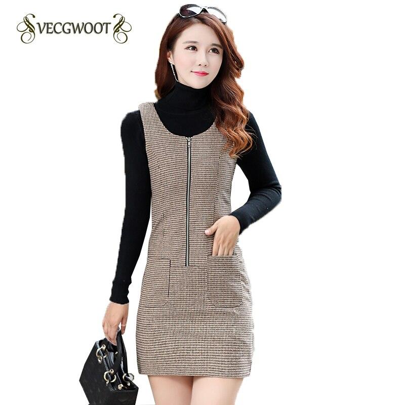 US $15.4 56% OFF|Houndstooth Woolen Vest Dress Women Sleeveless Autumn  Winter Plus size Fashion Dress Comfortable Slim Dress Female S 4XL  WYT560-in ...