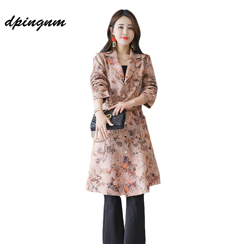 2018 Autumn Women print single Breasted Long Trench Coat Khaki With Belt Classic Casual Office Lady Business Outwear Fall