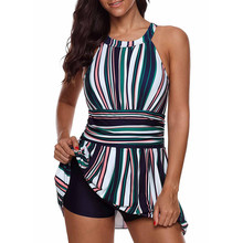 371fc1c744 2018 new swimwear women bikini Womens Stripes Lined Up Loose elasticity  Double Up Tankini Top Sets