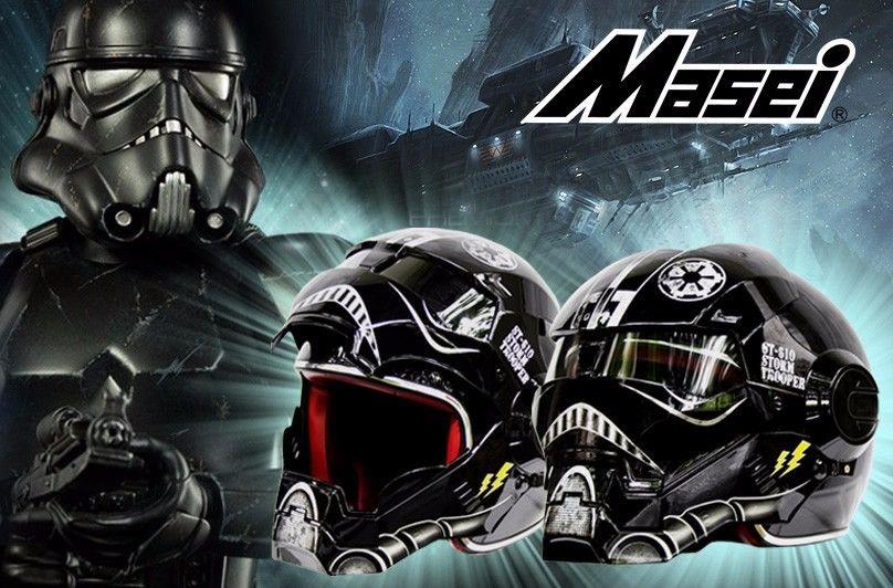 Spedizione gratuita top abs moto biker casco masei iron man personalità speciale moda metà viso aperto motocross casco star wars