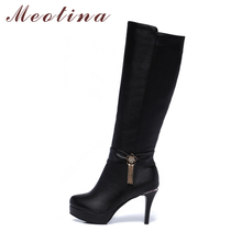 Meotina Women Winter Boots 2017 Knee High Boots Platform High Heels Round Toe Shoes Zip Sexy Ladies Boots Black botines mujer