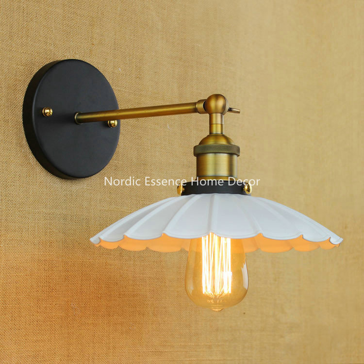 ФОТО Cafe American Wind Industry Creative Personality Minimalist Bedroom Restaurant Bedside Lamp Umbrella Iron Rh Aisle Wall Sconce