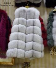Зима 2016 Натуральный Реальный Лисий Меховой жилет черный, красный, синий зеленый серый beige30 цвета, натуральный Лисий пальто с мехом, натуральный мех