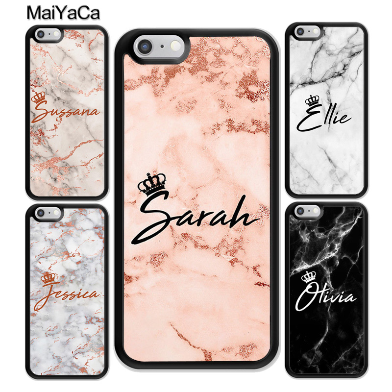 timeless design 23100 dd9b8 US $3.22 5% OFF|MaiYaCa PERSONALISED MARBLE QUEEN CROWN INITIALS NAME  CUSTOM Phone Case For iPhone 6S Plus 7 8 X XR XS MAX Cell Housing Cover-in  ...