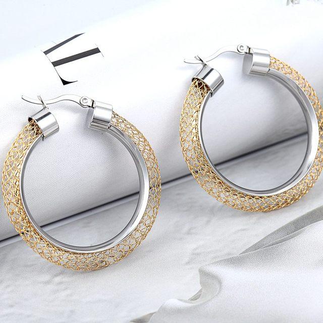 Купить женские ажурные серьги кольца модные брендовые золотого цвета картинки