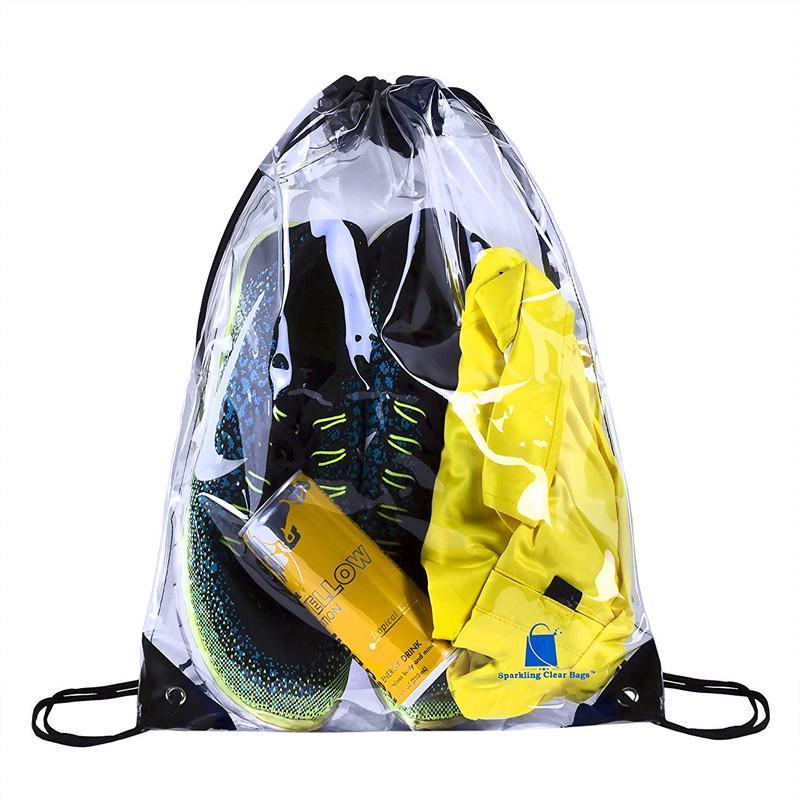 Transparent Drawstring Bag Fashion Waterproof Women Men  Backpack Summer Beach   Clear