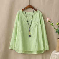 Spring And Autumn New Solid Color Cotton Linen Long Sleeve T Shirt Woman Loose Soft Comfortable