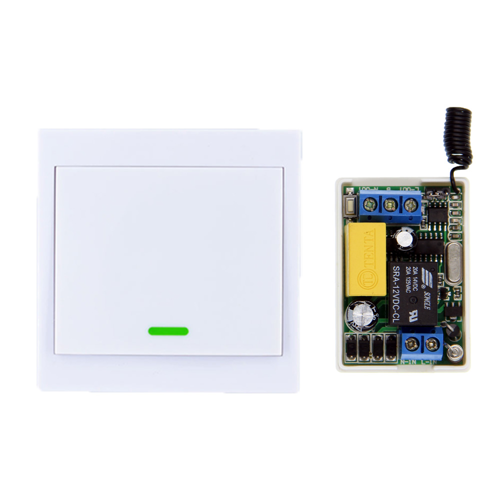 Mini 220V 1CH 1CH 10A Wireless Remote Control Switch Receiver +86 Wall Panel Transmitter For Hall Bedroom Ceiling LED Lights цена в Москве и Питере