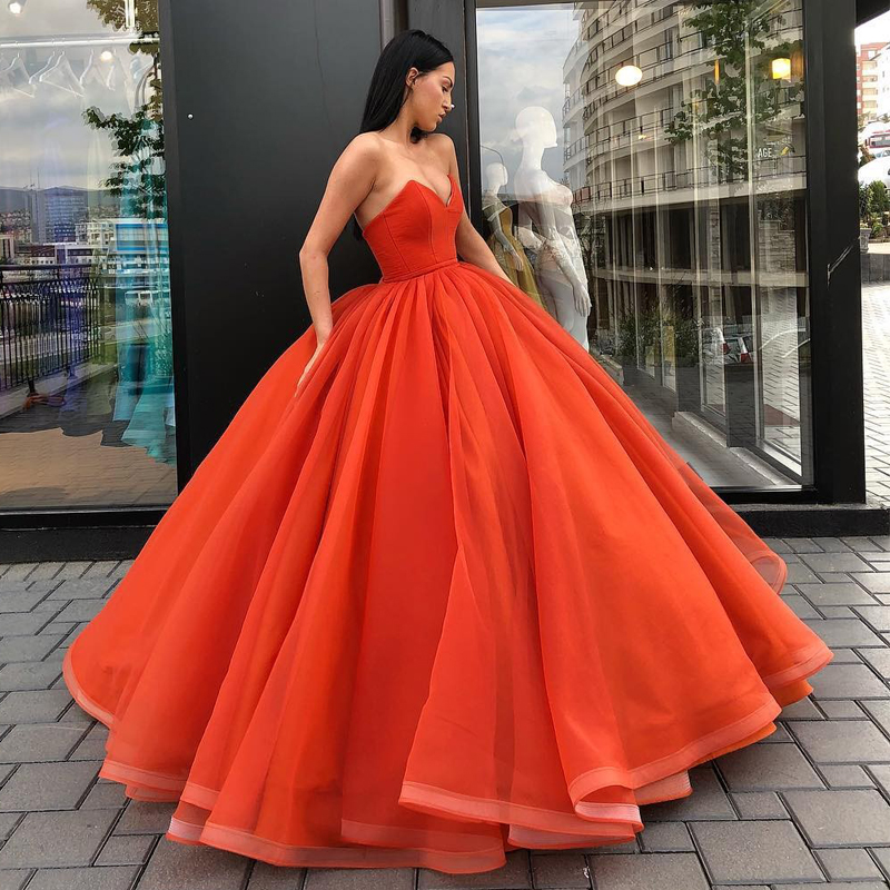 US $140.25 15% OFF|Orange Ball Gown Evening Gowns V Neck Strapless Organza  Satin Floor Length Plus Size Prom Gowns Women Maxi Dresses-in Dresses from  ...
