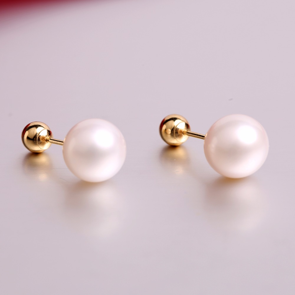 Robira Freshwater Pearl ball Stud Earring Bead Double Side Earring 18K Yellow Gold Two Face Way Party Date Jewelry For Women classic minimalist ball 18k gold bead stud earring for womens man girls diameter 3 4 5mm optional real au 750 stud earring