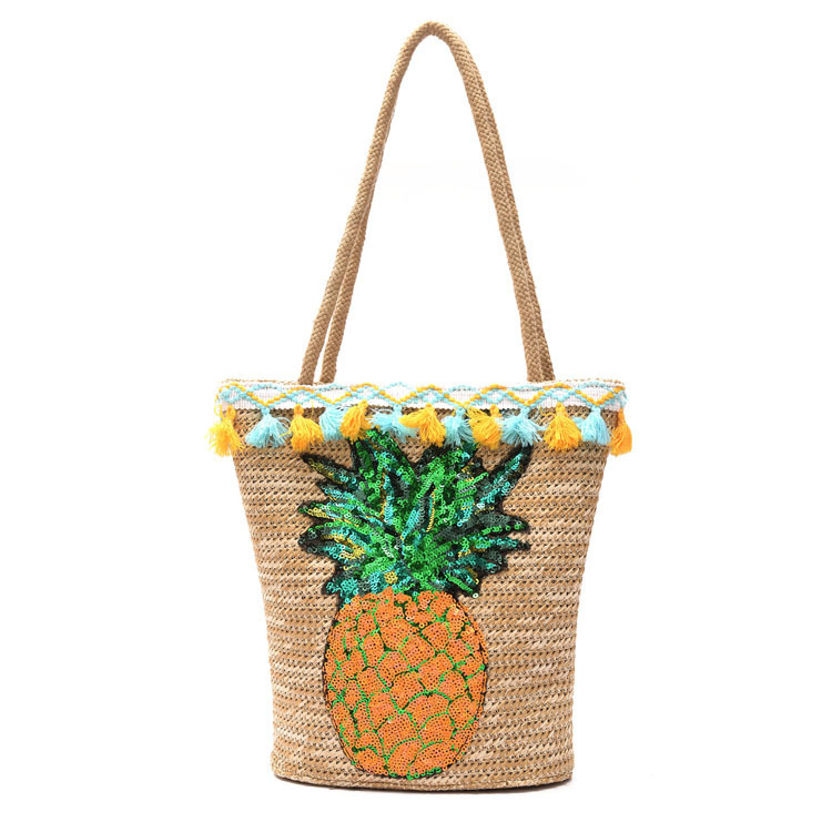 где купить New Pattern Pineapple Straw Plaited Woman Package Squined Fruit Beach bag Summer vacation handbag bolsos mujer по лучшей цене