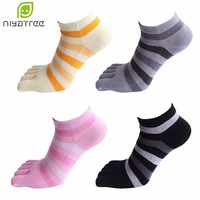 New Fashion Brand Women Socks Colorful Stripes Patchwork Cute Socks Cotton Breathable Casual Five Finger Toe