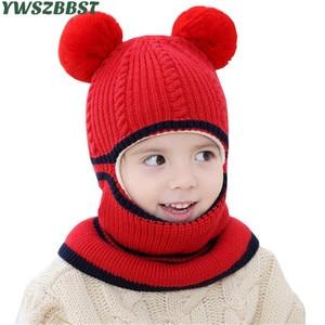 Image 2 - ファッションベビー帽子ポンポンボールかぎ針ベビー帽子フード付きスカーフ子供キャップ襟スカーフ秋冬キッズベビーキャップ