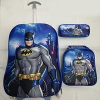 Luggage Bags/Children 16 Inch 3D EVA Wheeled Bag/Student Cartoon Batman Design Trolley School Bags