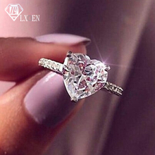 Fashion Luxury Big Heart Wedding Rings for Women Top Quality Zircon Silver Color Engagement Ring Lover Best Gift Jewelry Anillos cuteeco hight quality silver pan ring love heart ring original wedding jewelry gift for lover engagement accessories